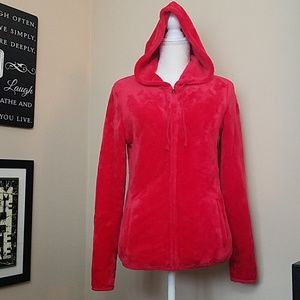 FUZZY NO BOUNDARIES RED FRONT ZIP HOODED JACKET